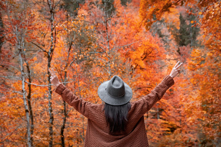 Rear view of woman with outstretched arms. autumn, fall, forest, adventure.