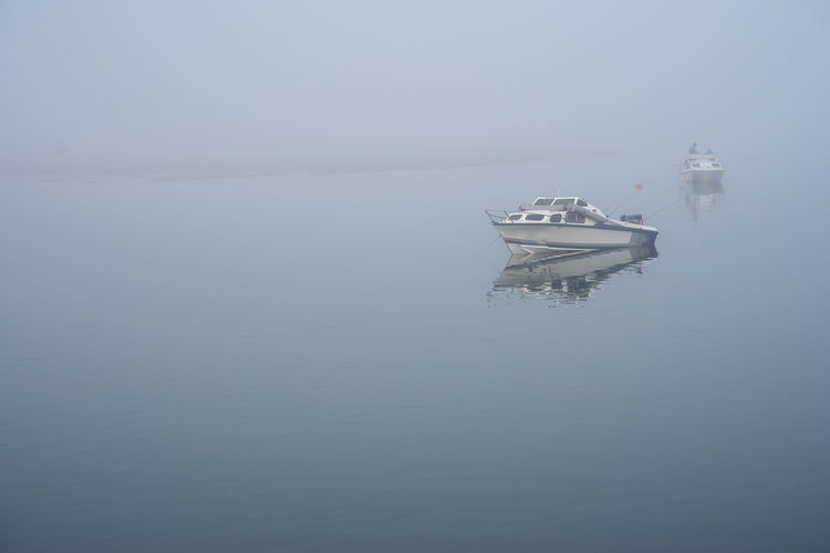 fog Nautical Vessel Water Transportation Sea Mode Of Transportation Waterfront Tranquility Nature Day No People Ship Beauty In Nature Tranquil Scene Sailing Scenics - Nature Outdoors Fog Copy Space Cruise Ship Yacht