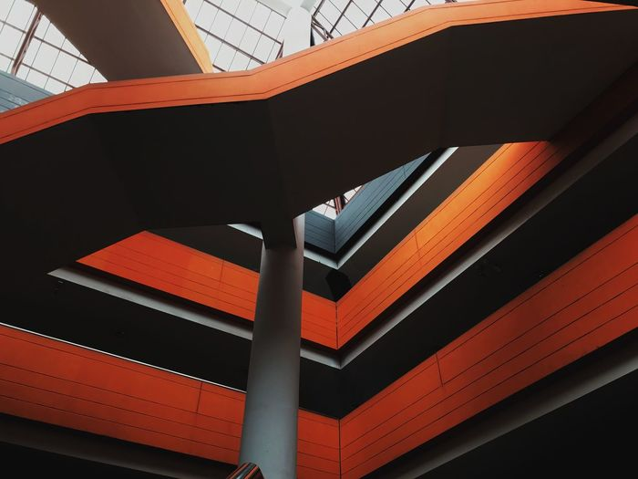 Abstract of orange line architecture building Bridge House Orange Color Building Ceiling Outdoors Bridge - Man Made Structure