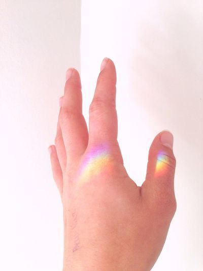 Human Hand Palm Close-up White Background Rainbow