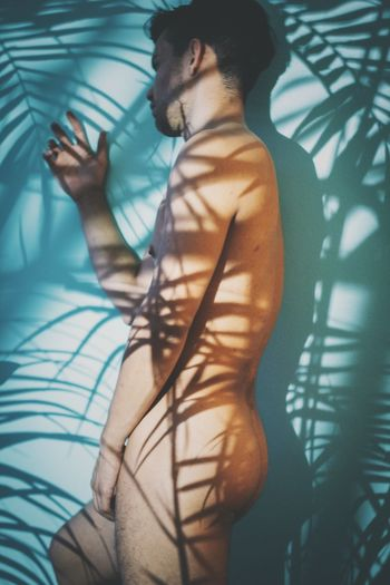 Jungle of shadows Male Plants Shadows Nude_not_porn Nude-Art Nude_model Malemodel  Malebody One Person Young Adult Real People Lifestyles Indoors
