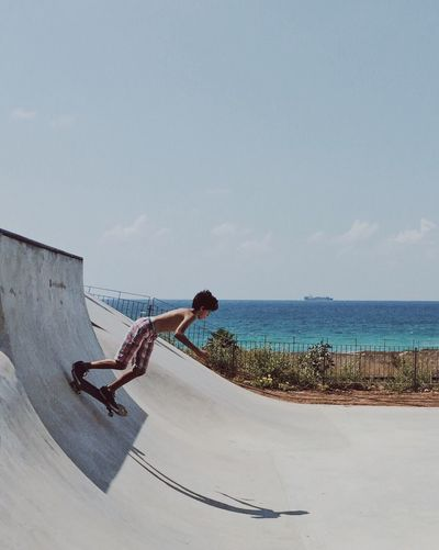 Catching waves Skateboarding Skate Magic Moments Skateboard Skatepark Sea The City Light Adapted To The City Tranquil Scene Vacations Tourist Tourism Enjoyment Scenics Tranquility מייסטריט מייסקייט Long Cloud - Sky Nature Summer Embrace Urban Life Live For The Story (null)The Street Photographer - 2017 EyeEm Awards