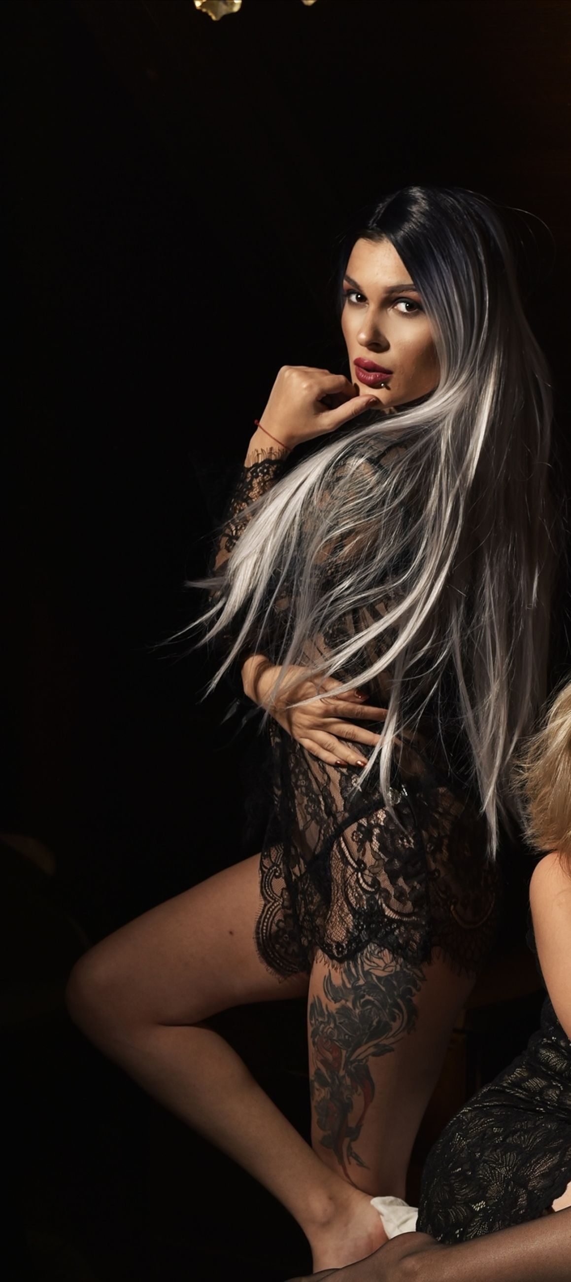 women, adult, young adult, long hair, one person, fashion, hairstyle, indoors, portrait, clothing, photo shoot, female, studio shot, looking at camera, black, underwear, black background, desire, night, glamour, blond hair, arts culture and entertainment, elegance, lingerie, make-up, lifestyles, looking, dark, person, human hair