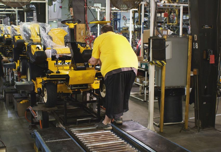 Industry Manufacturing Equipment Only Men Factory Yellow Manual Worker Machinery Metal Industry Manufacturing Machine Part Rear View Adults Only Standing One Man Only Indoors  Occupation One Person Full Length Men Steel Worker