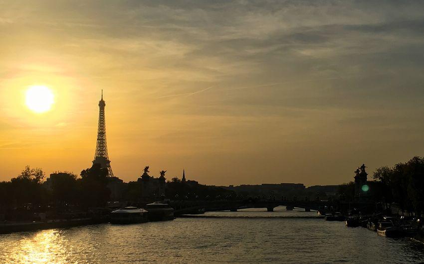 Travel Destinations Built Structure Tourism Sunset Sky River Travel City Silhouette Paris Paris, France  France Eiffel Tower Seine River Seine River