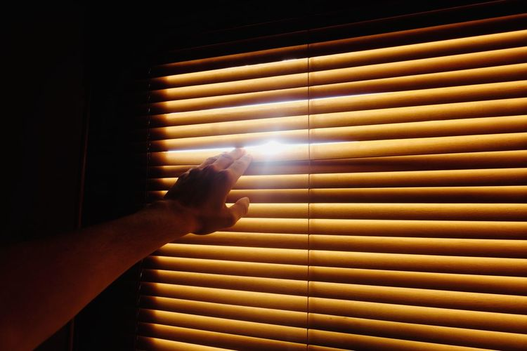 Cropped hand of person touching window blinds