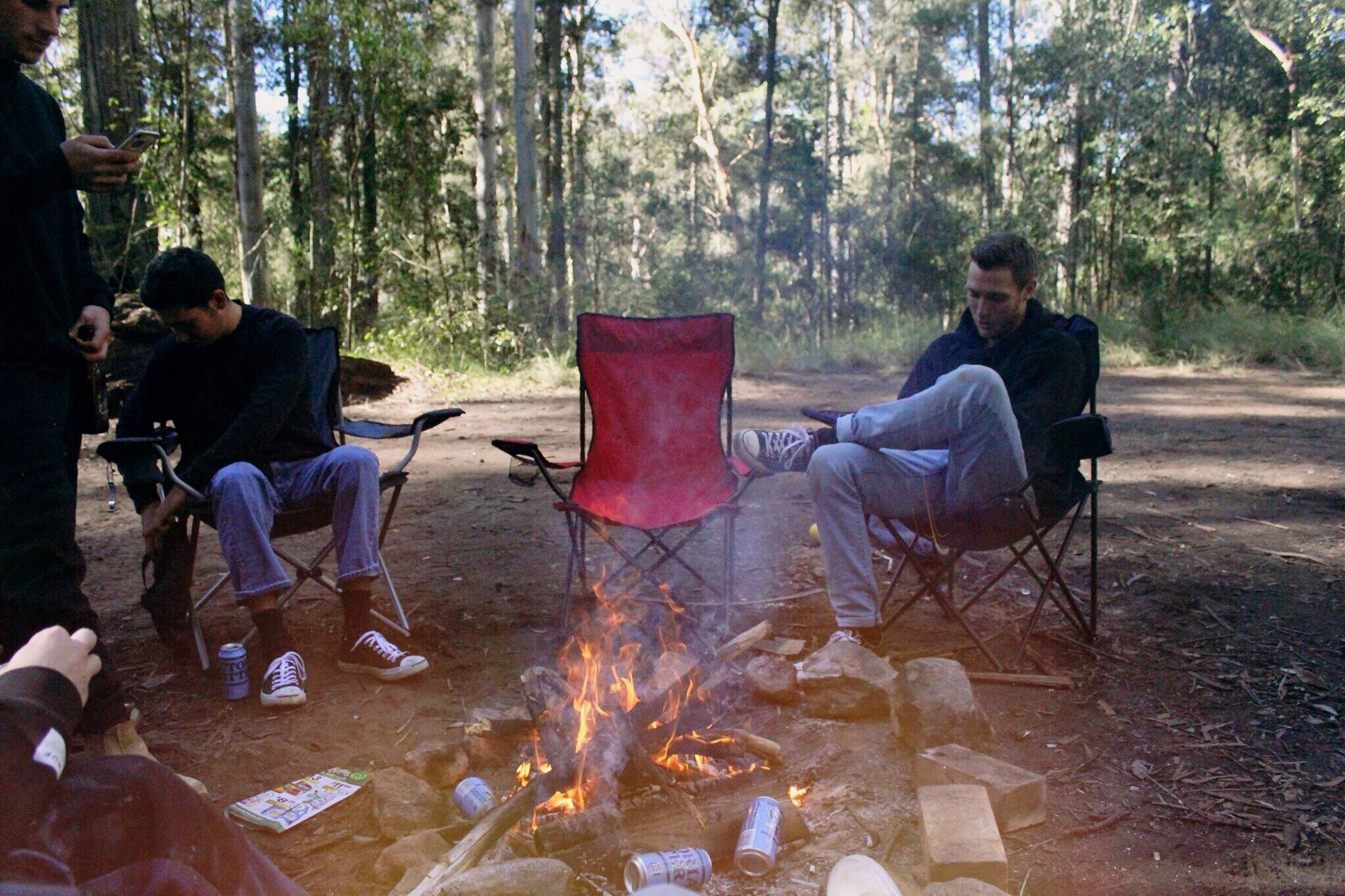 forest, camping, tree, campfire, sitting, men, nature, burning, full length, day, togetherness, two people, adventure, young adult, adult, outdoors, people, friendship, young women, adults only, only men