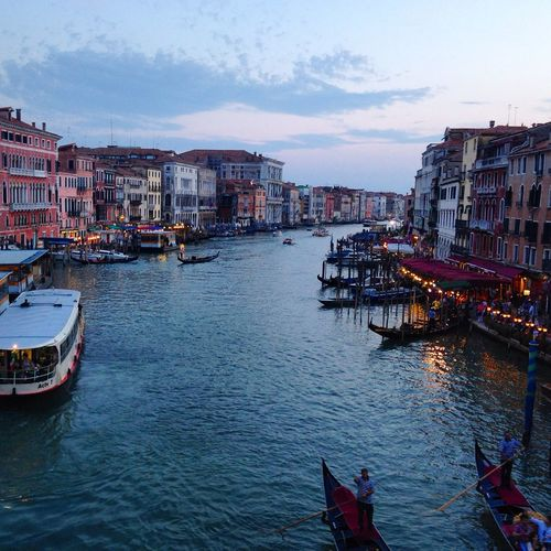 Architecture Boat Building Building Exterior Canal City Evening Evening Lights Gondola Grand Canal Italy Residential Building Residential District Transportation Venezia Water Waterfront Photography In Motion