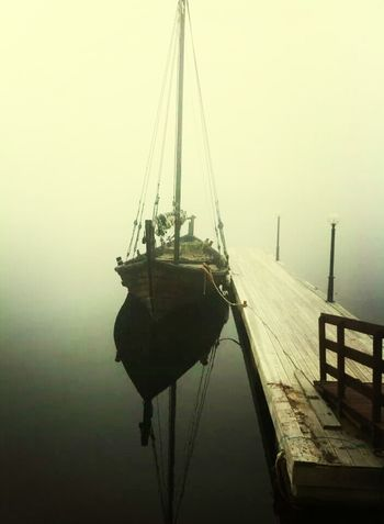 Harbour View Foggy Morning Boat