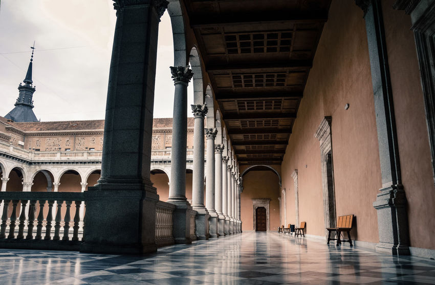 Alcazar Toledo Medieval Architecture Corridor Columns Archs
