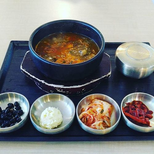 This is what USD 9 gets you for lunch in Korea. Hotandspicy Meatstew