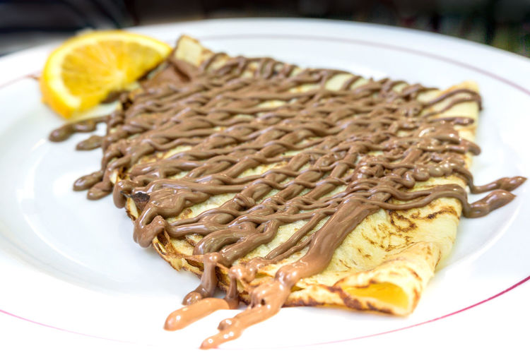 Close-up of crepe in plate