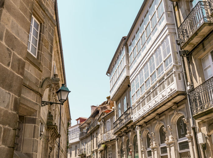 Santiago streets Arquitecture Balconies Balcony Blue Sky City Street Nopeople Old Buildings Old Town Romanic Architecture Santiago De Compostela Streetphotography Urban Geometry Urbanphotography Windows And Doors Outdoors Personal Perspective Beautiful Ancient Ancient City Streets Perspective