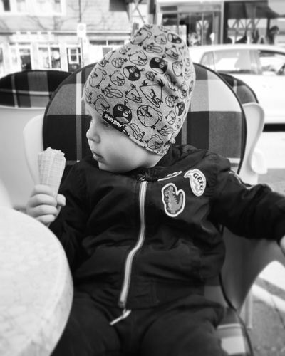 My boy Boy Child Outdoors Mobilephotography Huaweiphotography Monochrome Headwear Warm Clothing Childhood Child Sitting Close-up