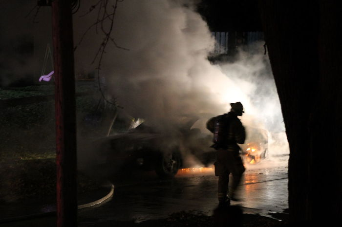 Late Night Car Fire 3 Black And White Blackandwhite Car Fire Fighting A Fire Fire Firefighter Fireman Safety Smoke The Photojournalist - 2016 EyeEm Awards