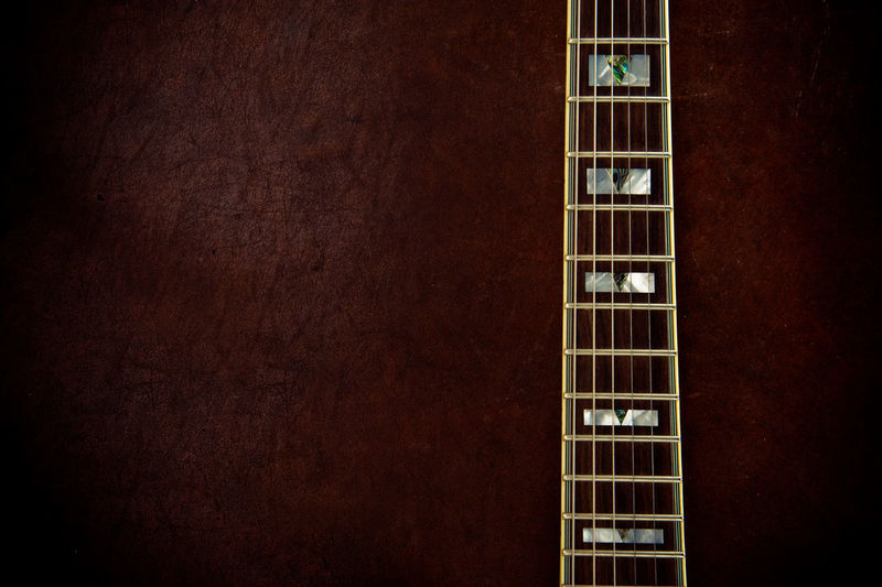 Cropped Image Of Guitar Fretboard