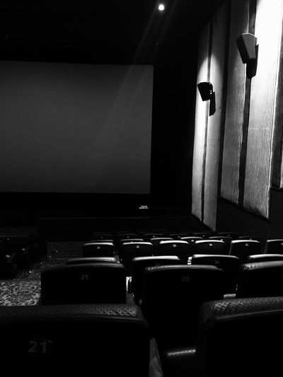 Indoors  Black And White No People In A Row Seat Projection Screen Empty Monochrome Photography