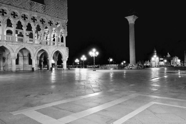 Holiday Venice, Italy Arch Architectural Column Architecture Building Building Exterior Built Structure City Courtyard  Flooring History Illuminated Memorial Monument Night No People Outdoors Religion The Past Tiled Floor Tourism Travel Travel Destinations Water