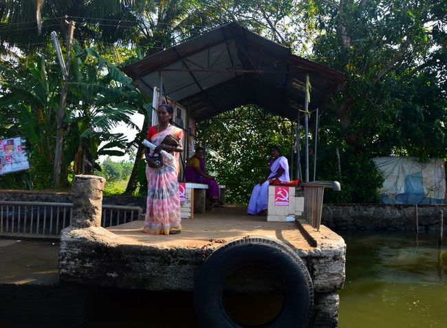 India Indian Woman Boat Stop Casual Clothing Day Outdoors Real People Waiting For Boat Water