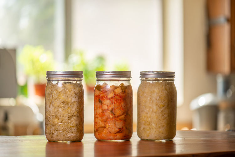 Close-up of food in jar on table