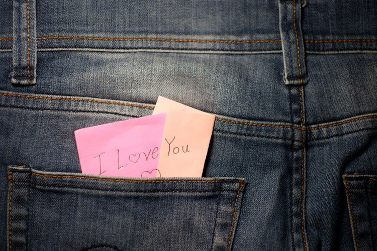 Blue Casual Clothing Close-up I Love You Indoors  Jeans Love Message Text Textile