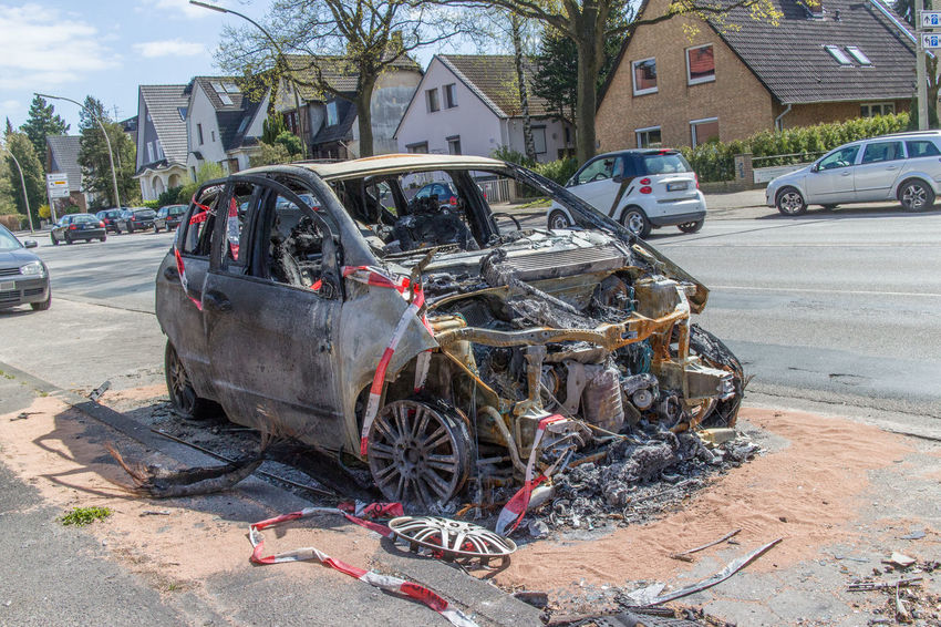 Accident Accidents And Disasters Burned Burned Out Car No People Outdoors Police