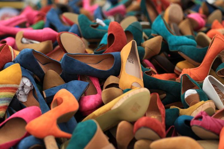 Full frame shot of shoes for sale