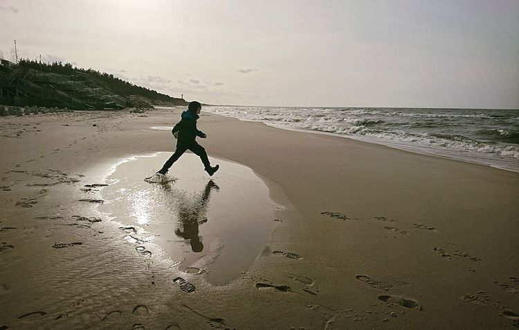 Beach Nature Water Sea One Person Outdoors Sand Beauty In Nature Day Child Reflection Reflections In The Water Childhood Child Runner Baltic Baltic Sea Spring Is Coming
