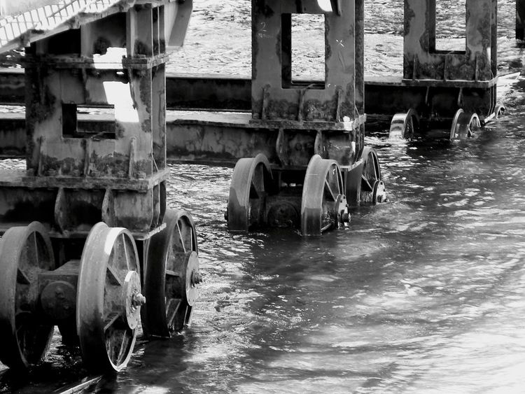 From My Point Of View Taking Photos Best EyeEm Shot Streetphotography Street Photography Water Reflections Blackandwhite Black & White Industrial Metal Work Metal Construction
