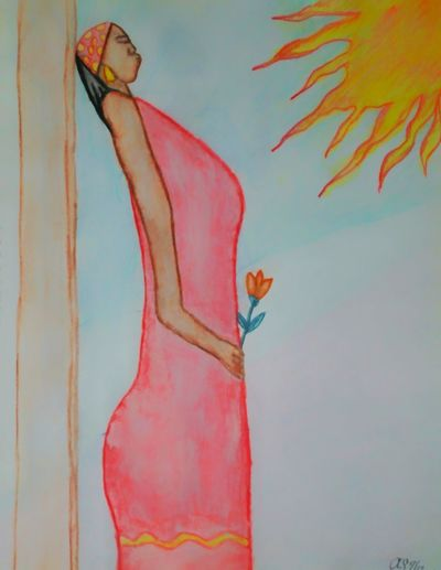 Hand Drawing I Drew This My Drawing My Art Colored Women Wonan Holding Flowers Street Life Sunshine Hot Day Black Woman Boredom Red Dress Standing On Street Corner Colored Pencil New Orleans New Orleans Lady Beautiful Women Of New Orleans, LA. Check This Out when I was in the hospital in New Orleans, la. I would draw. I've never shown this to anyone. I took inspiration from the great city of New Orleans, la and the beautiful people who live there. Please be nice,i just love to draw. its not finished yet. Street People Watercolors  Not Done Yet