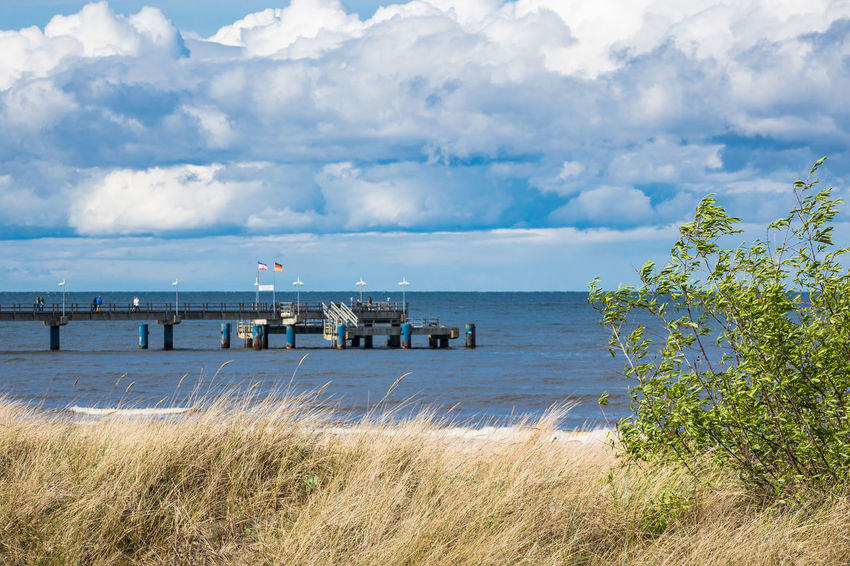 Pier on the Baltic Sea coast. Baltic Sea Holiday Pier Relaxing Bansin Beach Beauty In Nature Cloud - Sky Coast Day Horizon Over Water Jetty Journey Landscape Nature No People Outdoors Sea Shore Sky Tourism Travel Destinations Usedom Vacation Water