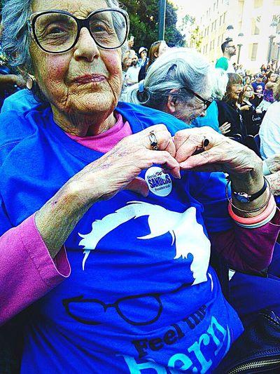 Bernie Sanders Feel The Bern Feel The Bern!!! Bernie Sanders For Presient Bernie2016 Heart Shape Heart ❤ Girl Power Elderly Beauty Elderly Woman Elderly Love Elderly In America