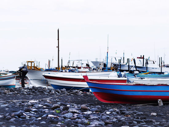 Boats And Water Clear Sky Colours Day Fisherboats  Natural Harbour Nautical Vessel No People Outdoors Rocky Each Sea Stone Material Tranquility
