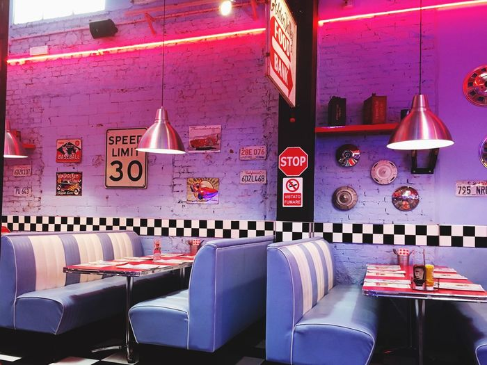 Fifties American Diner Fun Seat Indoors  Table No People Lighting Equipment Chair Restaurant Food And Drink Furniture