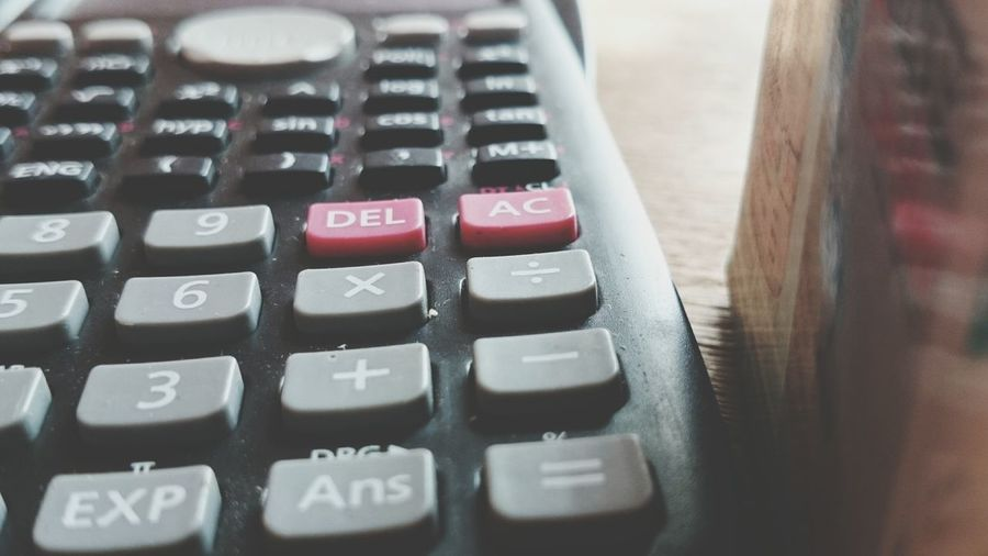 Close-up of calculator on table