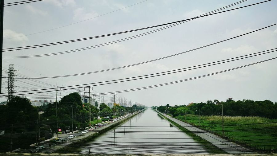 Bangkok Thailand Klong Cables In Bangkok Cables And Wires Channel Water Cloudy