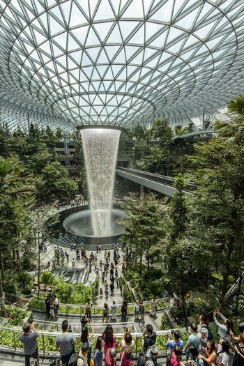 The Rain Vortex at Jewel Changi Airport Plant Crowd Tree Men Group Of People Large Group Of People Architecture Day Nature Real People Women Motion Water Fountain Built Structure Lifestyles Growth Adult Outdoors Spraying Flowing Water Indoor Waterfall Changi Airport Jewel Changi Airport Airport