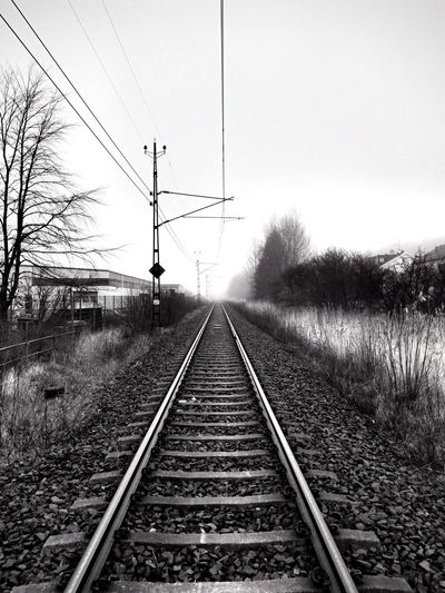 Gothenburg Bnw Sweden Love Bnw Photo Clarity X Iphonephotography IPhone Photography Iphone5s Iphoneonly No People Enjoy The View Bnw Sunday Check This Out Taking Photos Foggymorning Foggy Tracks Train Tracks Sweden Bnw