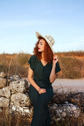 Adult Adults Only Beautiful Woman Blond Hair Day Front View Looking At Camera Nature One Person One Woman Only One Young Woman Only Only Women Outdoors People Portrait Sky Standing Sun Hat Young Adult Young Women