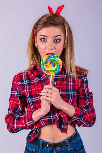 Fun Lifestyles Portrait Studio Shot White Background Young Women Person