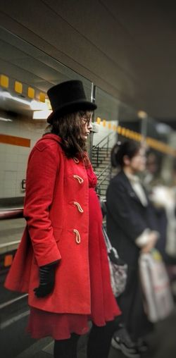 Hat City Red Coat People City Life Notes From The Underground Red Dress Top Hat Strangers In Transit