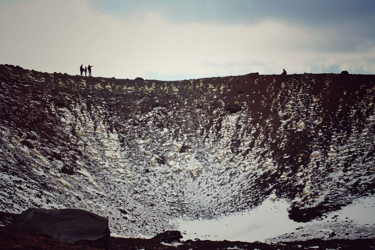 Volcano Landscape Outdoors Landscape Nature Etna Sicily Etna; Perspectives; Etna, Mountain, Sicily, Volcano Over Volcano People Pointing Beauty In Nature Contrast Colors Small Figures