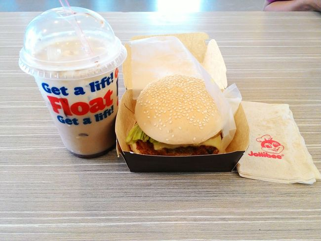 Birthday treat to self. Thank you God! Birthday Burger Jollibee Aloha