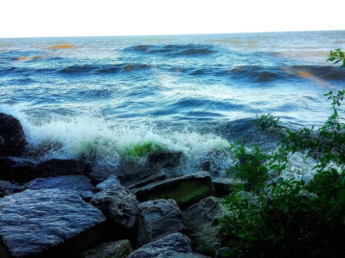Crashing waves Water_collection Crashingwaves #lakemichigan Water Nature Sky No People Beauty In Nature Day Tranquility Outdoors