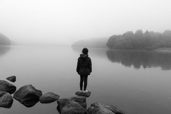 Lake Rear View One Person Water People Outdoors Fog Day Beauty In Nature Nature Minimalism Ireland Landscape Tranquil Scene Tranquility Live For The Story