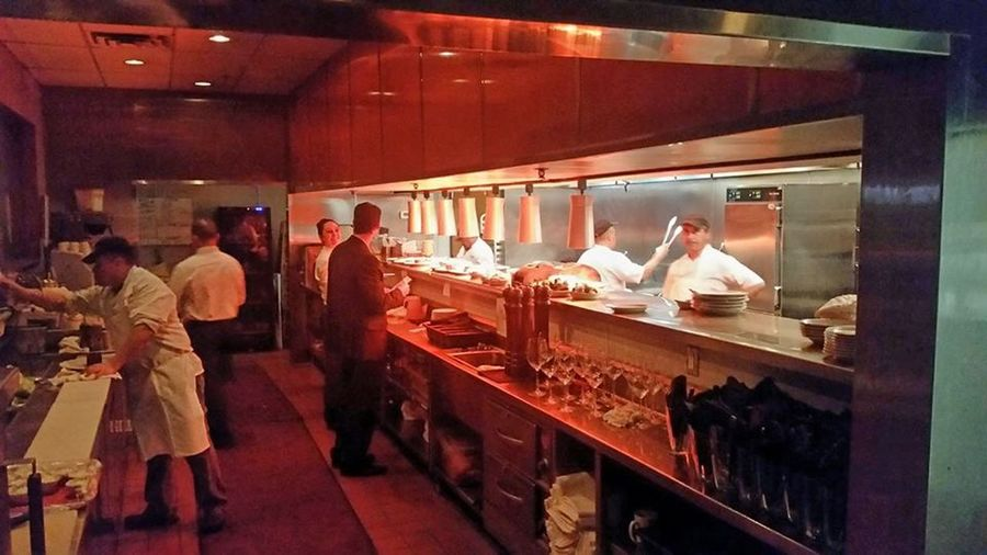 Chefs Clean Food Group Of People Heat Lamps Indoors  Kirby's Steakhouse Southlake, Texas Kitchen Kitchen Restaurant Men Professional Kitchen