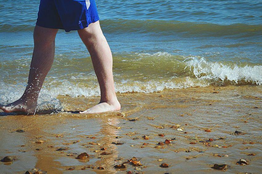 Walk On The Beach  Walk In The Sea Paddling Day At The Beach Beach Beach Day Beach Photography Sand & Sea Splashing In Sea Sea Seaside British Seaside Sunny Day By The Sea Blue Shorts Leg Shot Frinton-on-Sea United Kingdom Nikon D3200