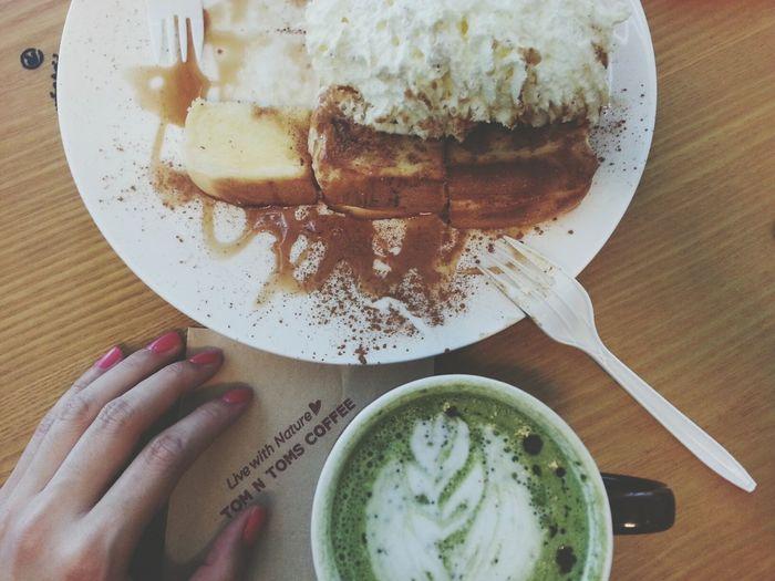 Honey Toast Green Tea Latte In My Mouf Nom Nom Nom