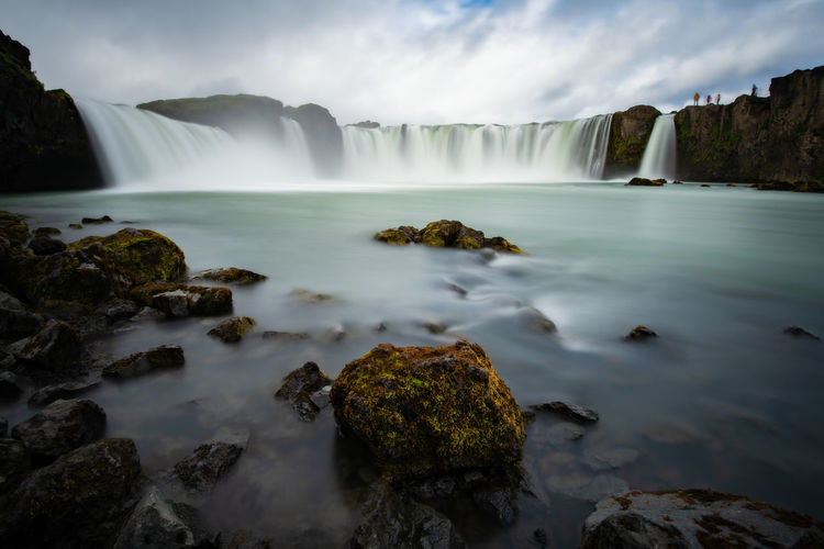 Godafoss is a waterfall in Iceland. Iceland Beauty In Nature Blurred Motion Environment Falling Water Godafoss Icelandic Long Exposure Motion Mountain Nature Outdoors Power In Nature Rock Rock - Object Scenics - Nature Water Waterfall
