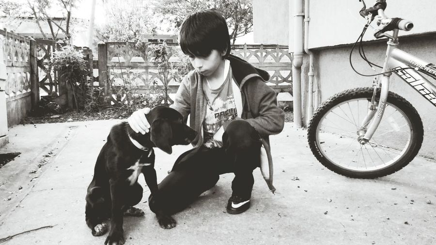 my soon and his dog